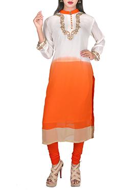 Off White N Orange Georgette Kurti