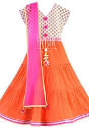 Off White N Orange Kids Anarkali Dress KDDFY1764