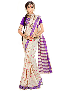 Off White N Pink Art Silk Designed Saree