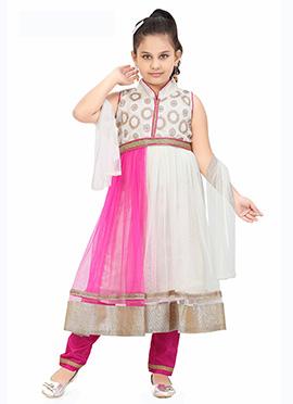 Off White N Pink Net Anarkali Suit