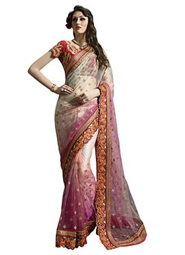 Off White N Pink Net Embroidered Saree