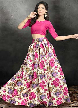 Off White N Pink Printed Lehenga Choli