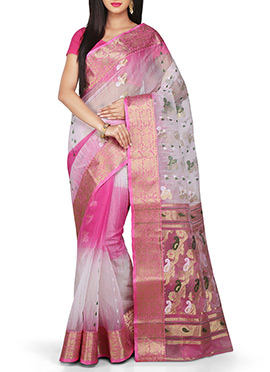 Off White N Pink Silk Ombre Cotton Tant Saree