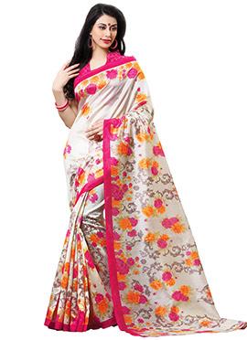 Off White N Pink Tussar Silk Printed Saree