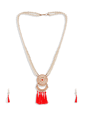 Off White N Red Beads Necklace Set