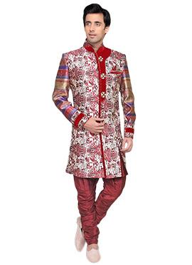 Off White N Red Breeches style Sherwani