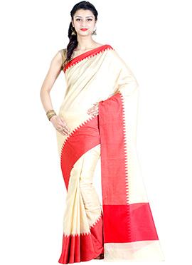 Off White N Red Chanderi Saree