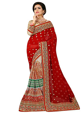 Off White N Red Net N Georgette Half N Half Saree