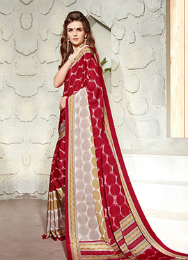 Off White N Red Printed Crepe Saree