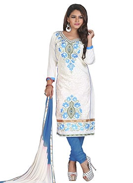 Off White N Sky Blue Churidar Suit