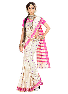 Off White N Violet Art Silk Designed Saree