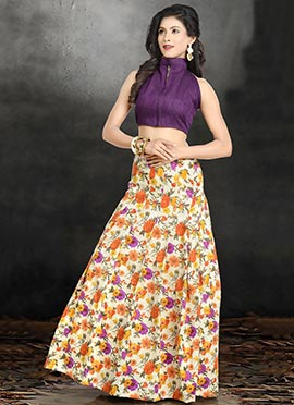 Off White N Violet Printed Lehenga Choli