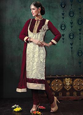Off White N Wine Sequins Embellished Churidar Suit