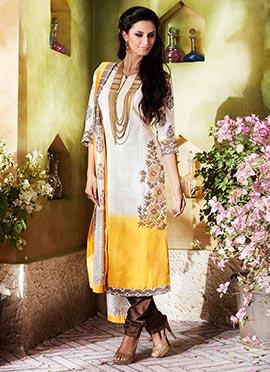 Off White N Yellow Khadi Silk Churidar Suit