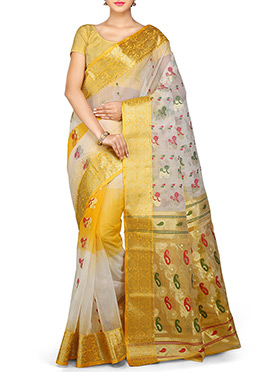 Off White N Yellow Ombre Silk Cotton Tant Saree