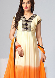 Off White Nylon Anarkali Suit