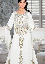 Off White Plus Size Georgette Fustan Dress