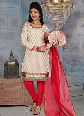 Off White Poly Cotton Brocade Churidar Suit