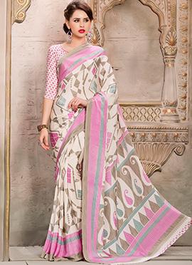 Off White Printed Saree