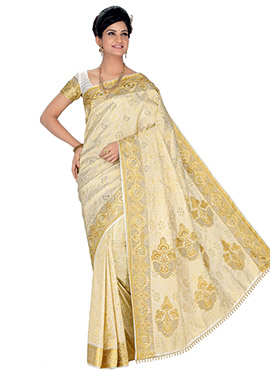 Off White Pure Silk Foliage Designed Saree