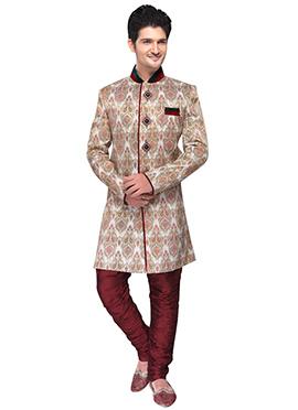 Off White Silk Breeches style Sherwani