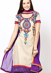 Beige Supernet Plus Size Churidar Suit