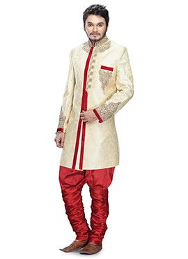 Off white Zardosi Breeches Style Sherwani