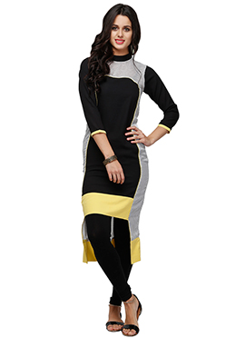 Ojjasvi Black N White Georgette Long Kurti