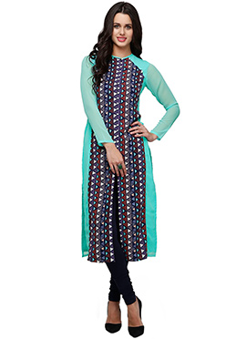Ojjasvi Turquoise N Multicolored Long Kurti