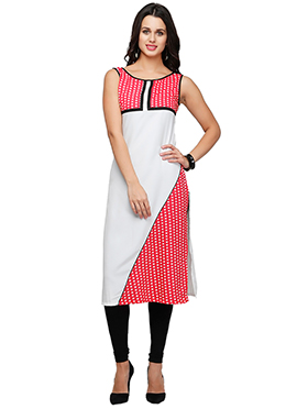 Ojjasvi White N Red Crepe Long Kurti