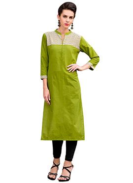 Olive Green Cotton Printed Kurti