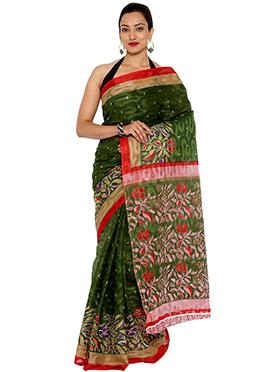 Green Cotton Saree