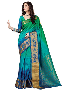 Ombre Green And Blue Tussar Silk Saree