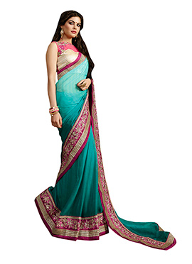 Ombre Green Embroidered Saree