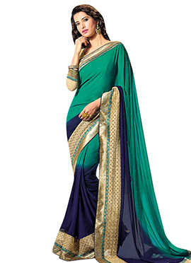Ombre Green N Navy Blue Georgette Saree