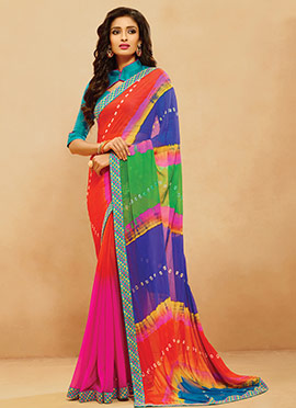Ombre N Multicolored Half N Half Saree
