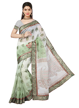 Ombre Off White N Light Green Cotton Saree