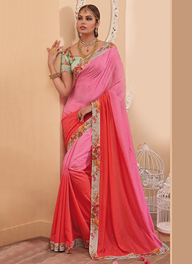 Ombre Pink N Bright Red Georgette Saree