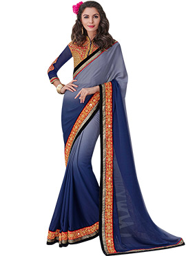 Ombre Steel Grey To Blue Satin Chiffon Saree