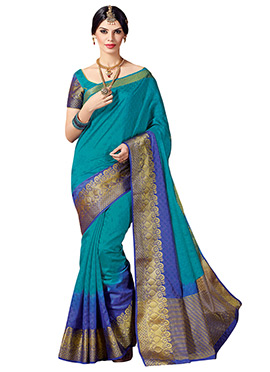 Ombre Teal N Blue Tussar Silk Saree