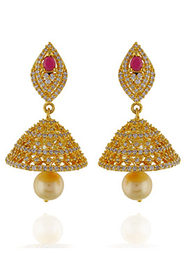 One Stop Fashion Gold Pleated Earrings