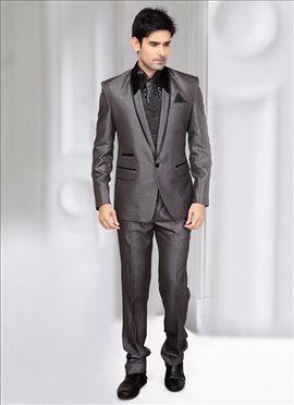 Opulent Grey Terrycot Lapel Style Suit