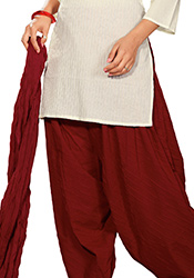 Opulent Red Cambric Cotton Patiala Suit