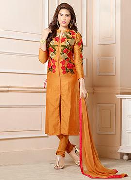 Orange Art Silk Embroidered Center Slit Straight Suit