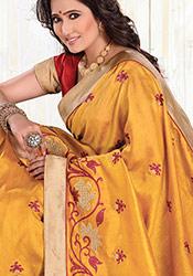 Orange Art Silk Floral Embroidered Saree