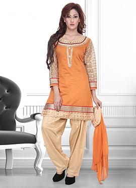 Orange Art Silk Semi Patiala Suit