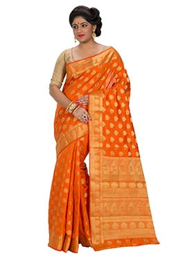 Orange Art Silk Zari Weave Designed Saree