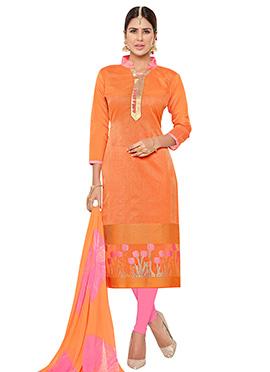 Orange Benarasi Jacquard Churidar Suit