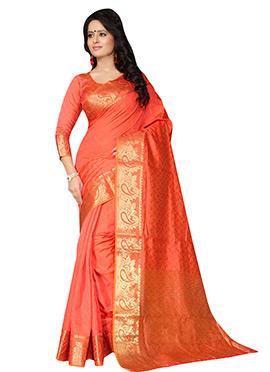 Orange Benarasi Silk Saree