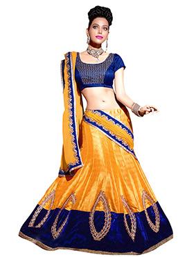 Orange Bhagalpuri Silk Lehenga Choli